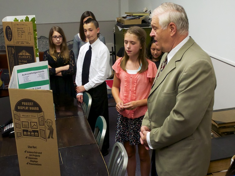 Winners present their projects to New York State Assemblyman Steve Englebright.