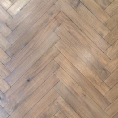 Hand-Crafted Herringbone, Silvered Oak, Wax Finish