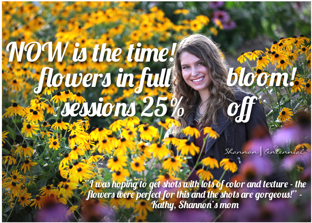 "Flowers are peaking!   The first 5 seniors to email us at lancehillphotography@comcast.net with promo code ""flowers"" gets 50% off their session fee.   We will notify the winners on Tuesday morning!   Call with questions: 651-482-9554"