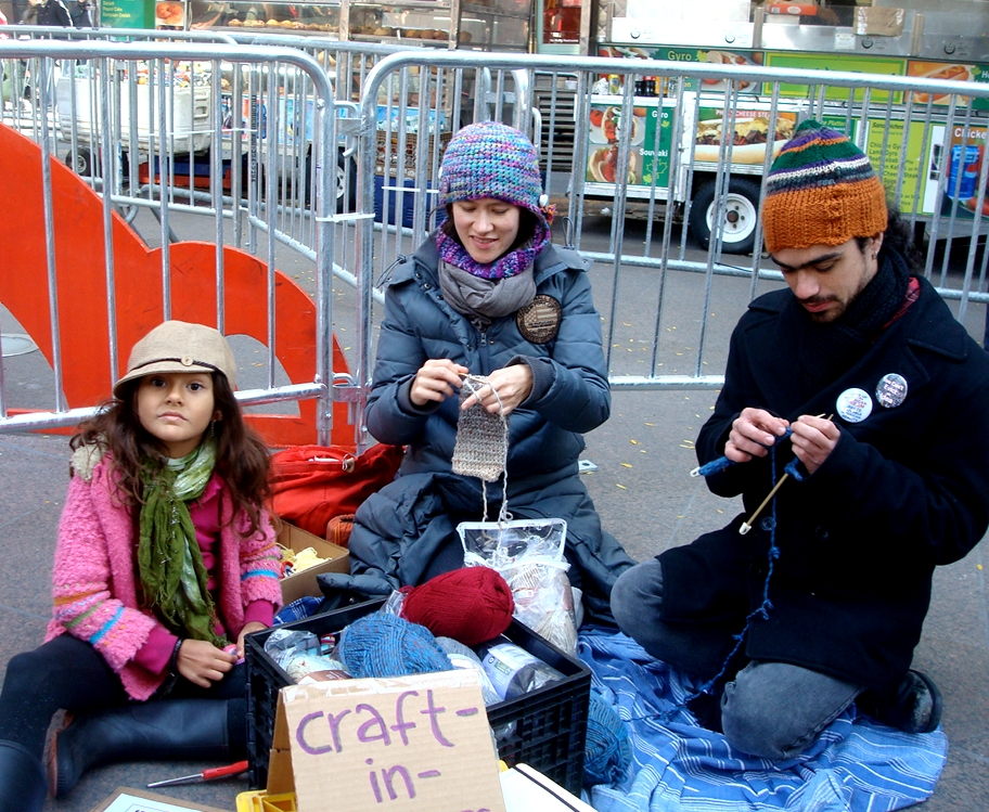 Craft-in-everywhere at Liberty Plaza/Zucotti Park with Occupy Wall Street (2011).