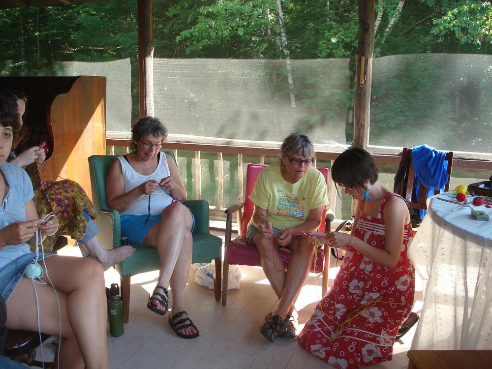 Teaching crocheting at World Fellowship, New Hampshire (2011) .