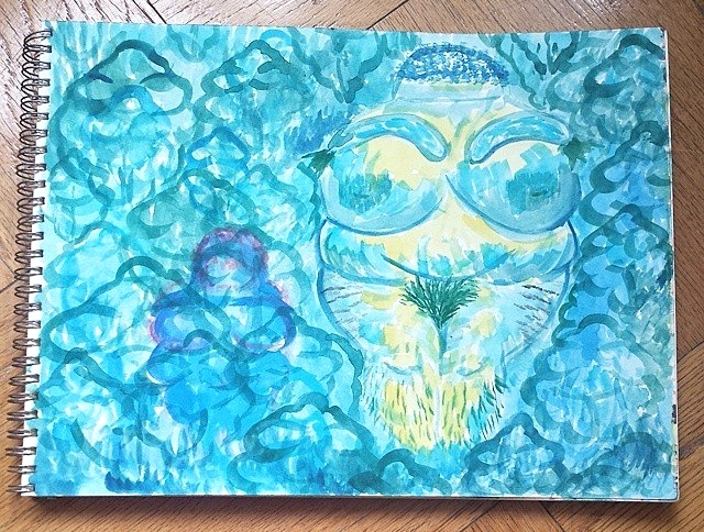 """The Hairy Goddess of Love Takes a Spirit Bath, 9"""" x 12"""" watercolor"""