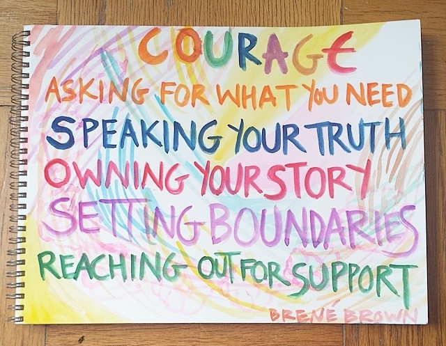 """Have Courage My Friend (inspired by the inspirational quote by Brené Brown), 9"""" x 12"""", watercolor"""