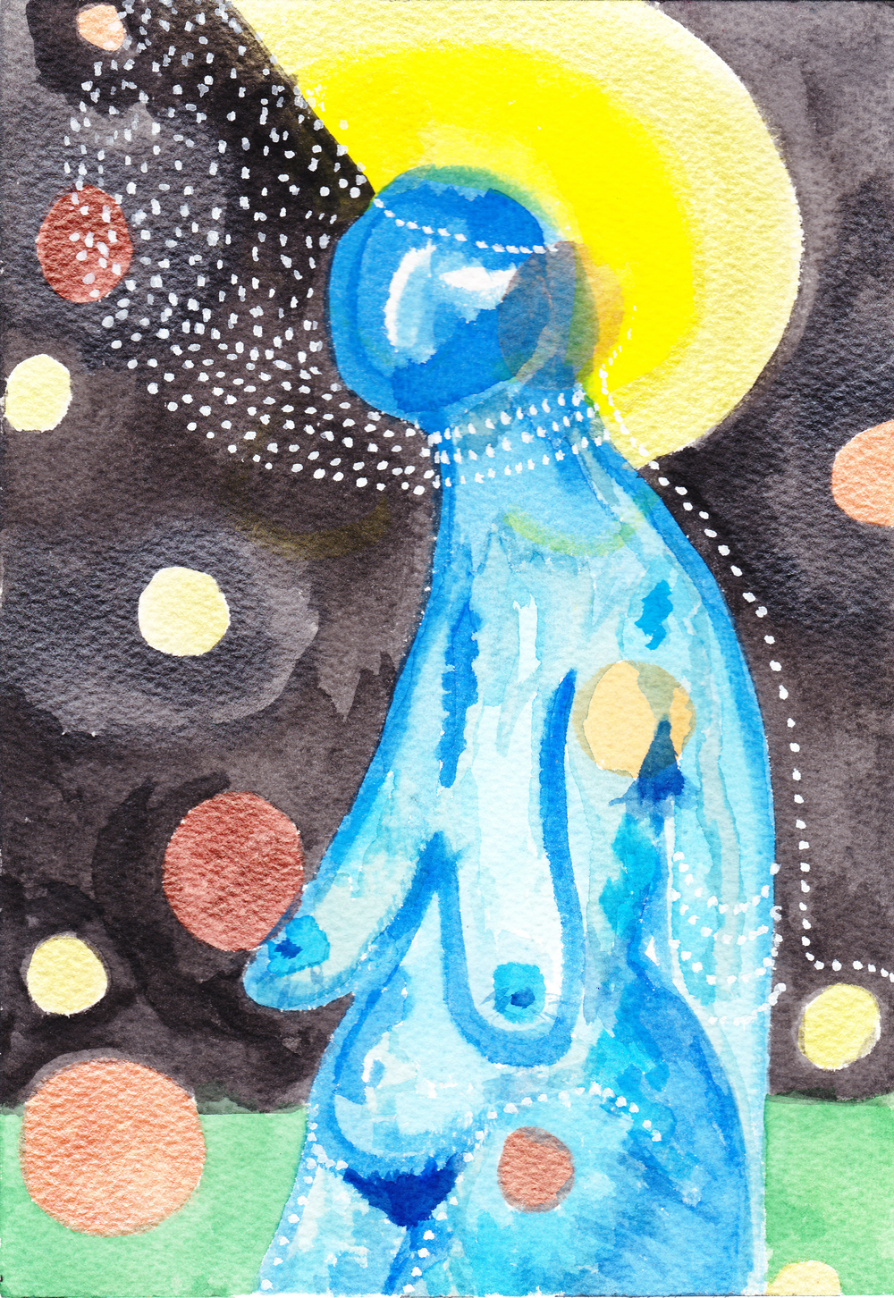 "The Space Traveler, watercolor, 7"" x 10"""