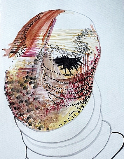 """Warrior-Survivor, watercolor, 11"""" x 14"""""""
