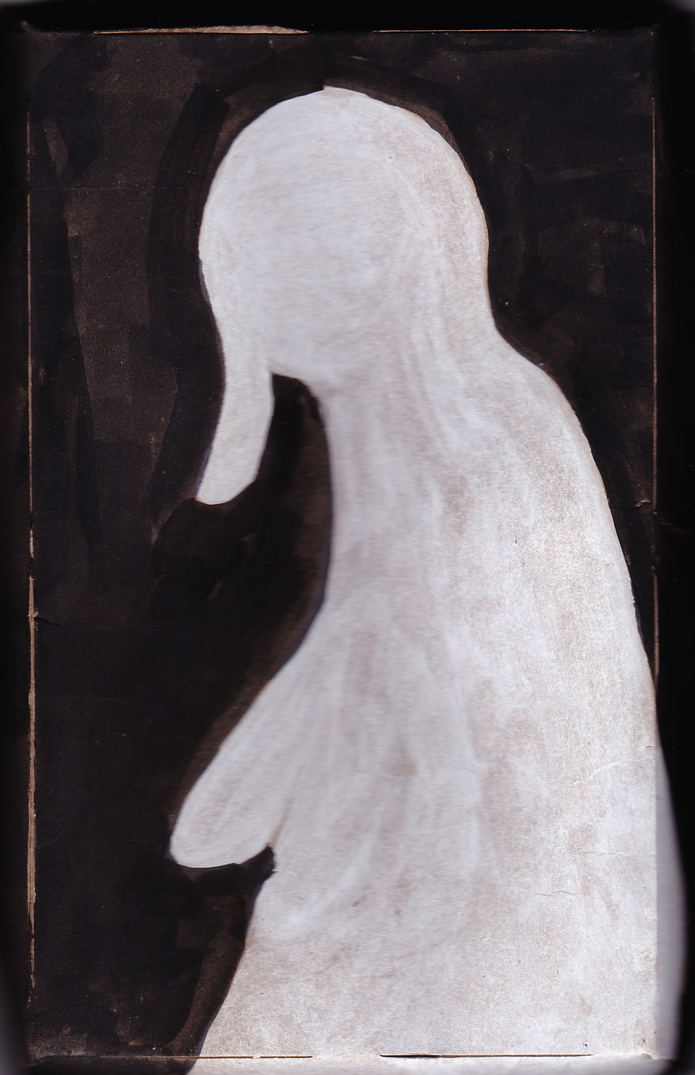 """Mother, watercolor on cardboard, 5"""" x 8"""""""