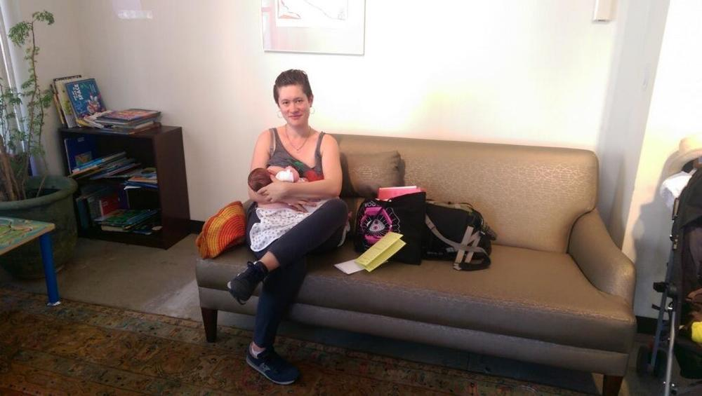First visit at the pediatricians; first time breastfeeding in public.