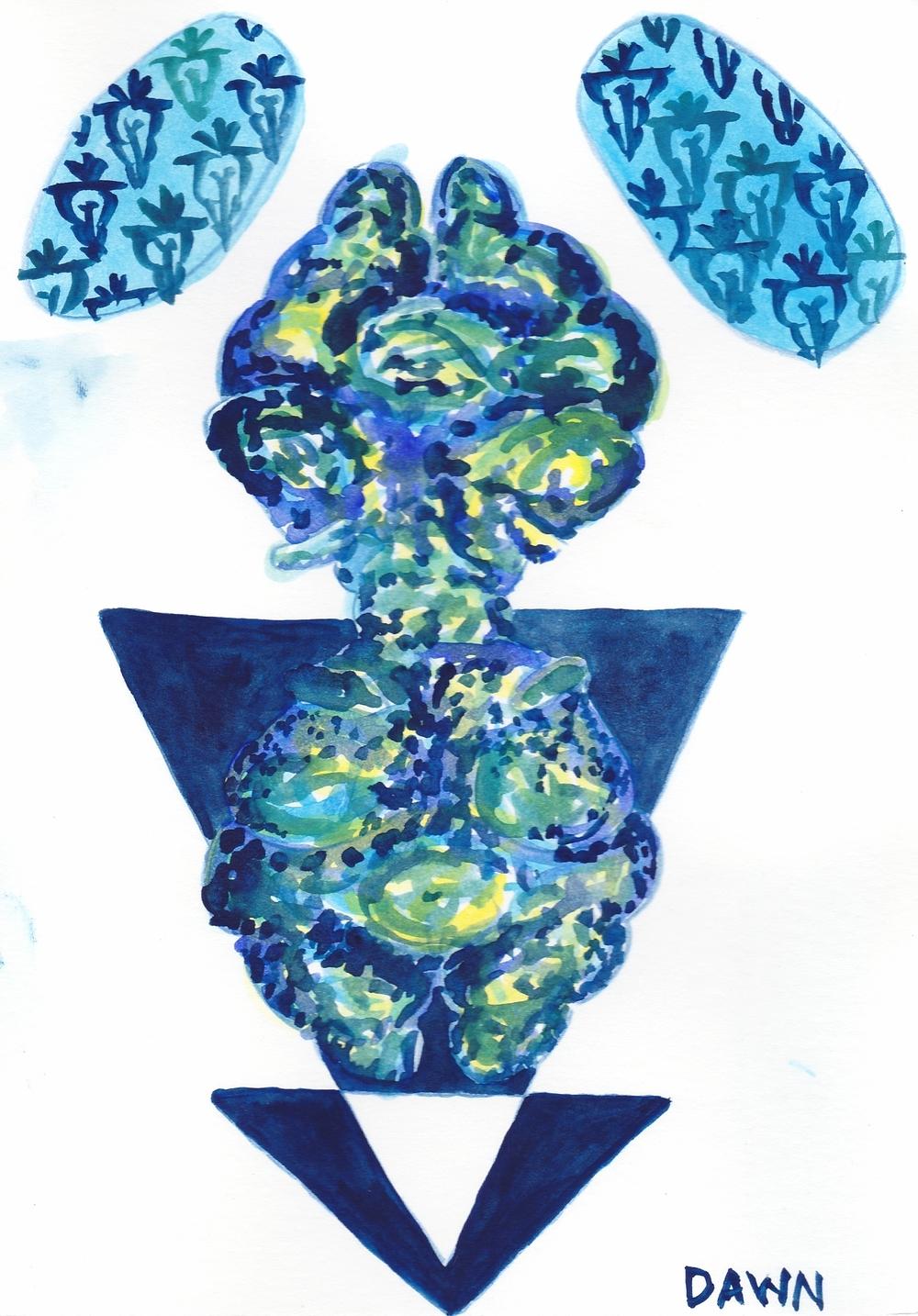 "Gratitude Card Series: Trust Women/Womyn; Trust Yourself, Watercolor 5"" x 7"""