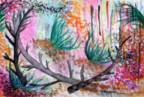 "Little Lentil Landscapes II: The Shame of Womanhood, Watercolor, 12"" x 16""  May 2014"