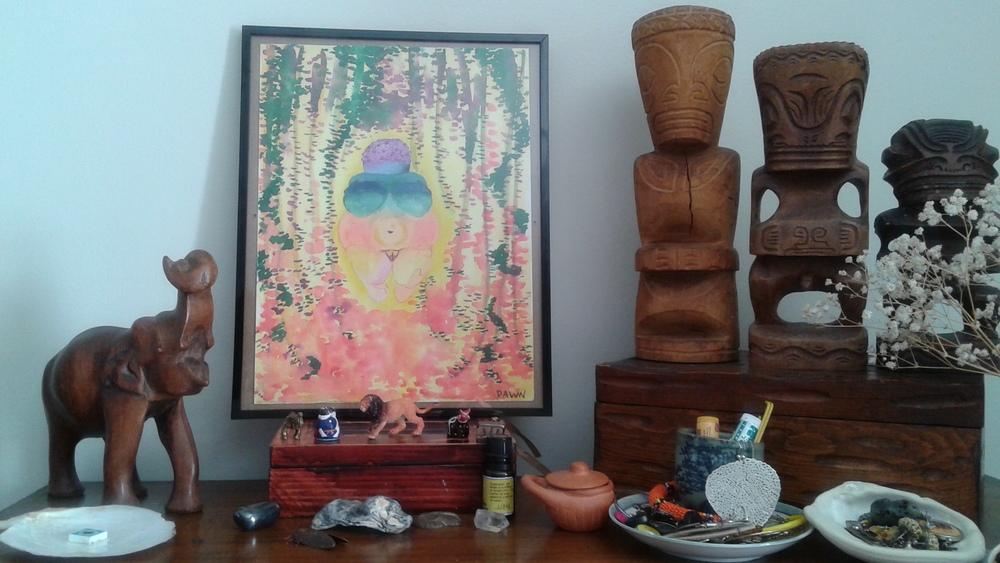Goddess shrine and Little Lentil's memory box.