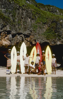 Board carriers at Ulu, Bali | p. Dana Edmunds | 1975
