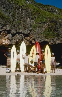 Board carriers at Ulu, Bali | Dana Edmunds | 1975