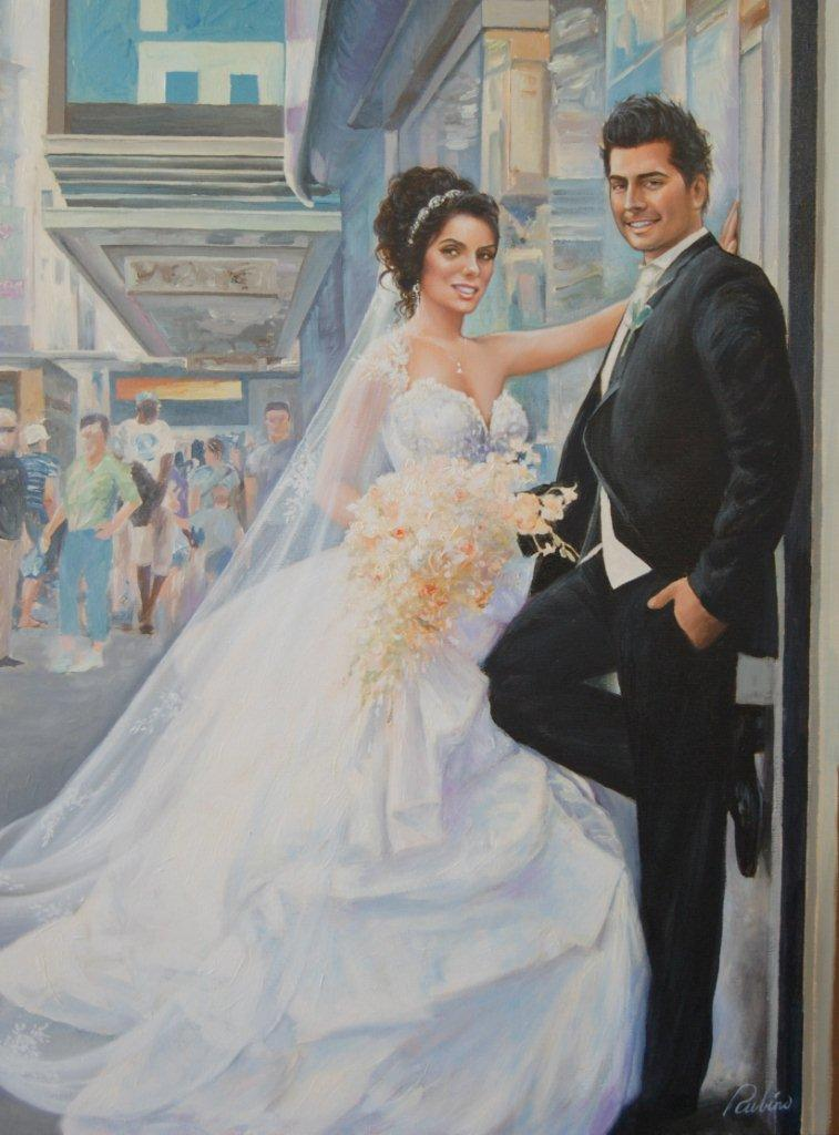 """Newlyweds"", Rosaria Lombardi Collection, 30 x 40, Oil"