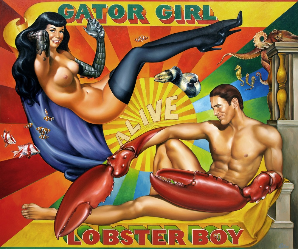"""Gator Girl, Lobster Boy"",   60 x 72 inches,   Oil on Canvas,  SOLD"