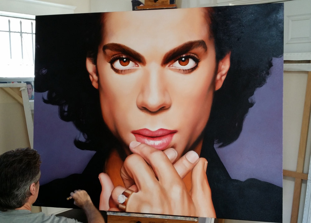 "Working on ""Prince"", Private Collector, 48 x 60, oil"