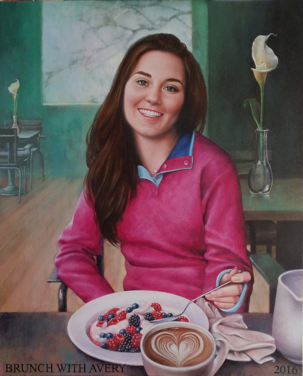 """BRUNCH WITH AVERY, 2016"", 26 x 32, Oil"