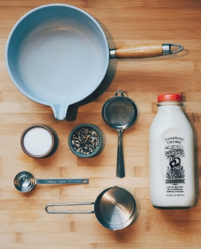 Gather your Ingredients. Yields 2 servings – 1 C spring water 1 C whole milk 1 T l&f chai blend 1-2 T unrefined sugar (or to taste)
