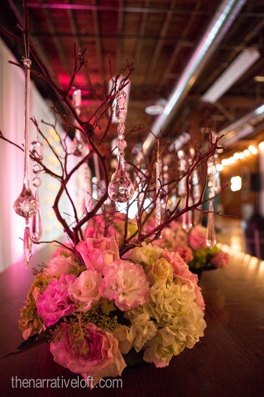 thenarrativeloft flower arrangments wedding birthday bash crystals