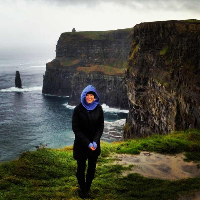 Sarah braving the Cliffs of Moher!