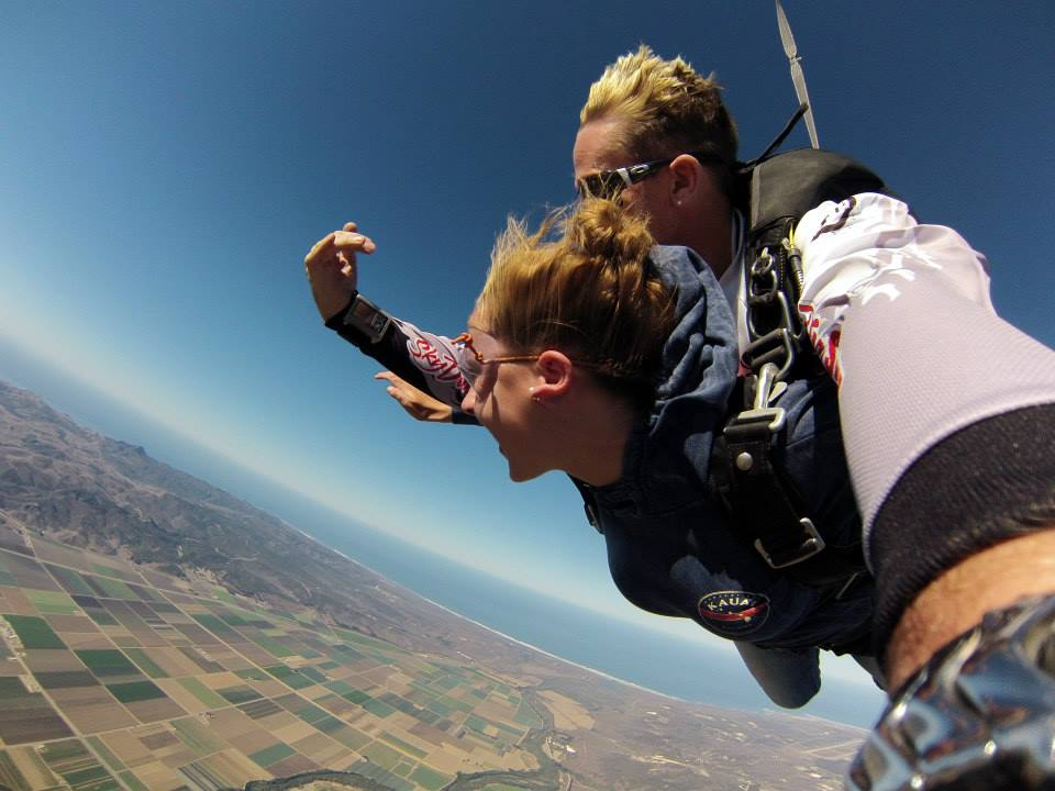 Sarah on a surprise skydiving adventure.