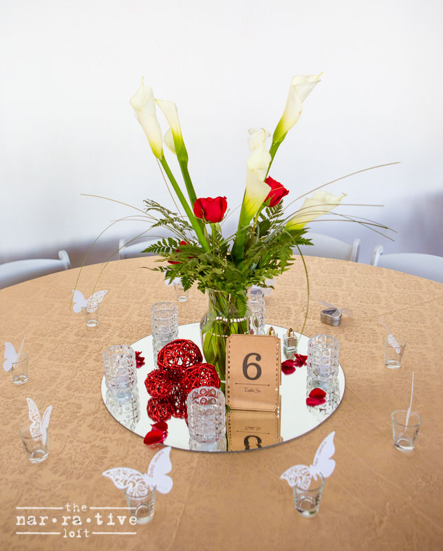 Roses are red and butterflies are cute. Table decor was done by the bride herself!