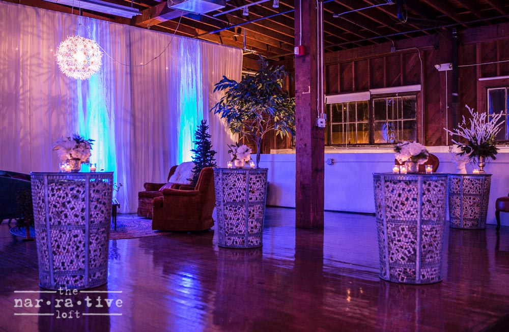 The studio looking dreamy in white for a holiday vendor party in 2014.