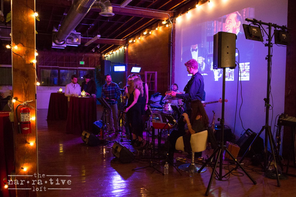 The live band setup, with plenty of room to dance and sing karaoke.