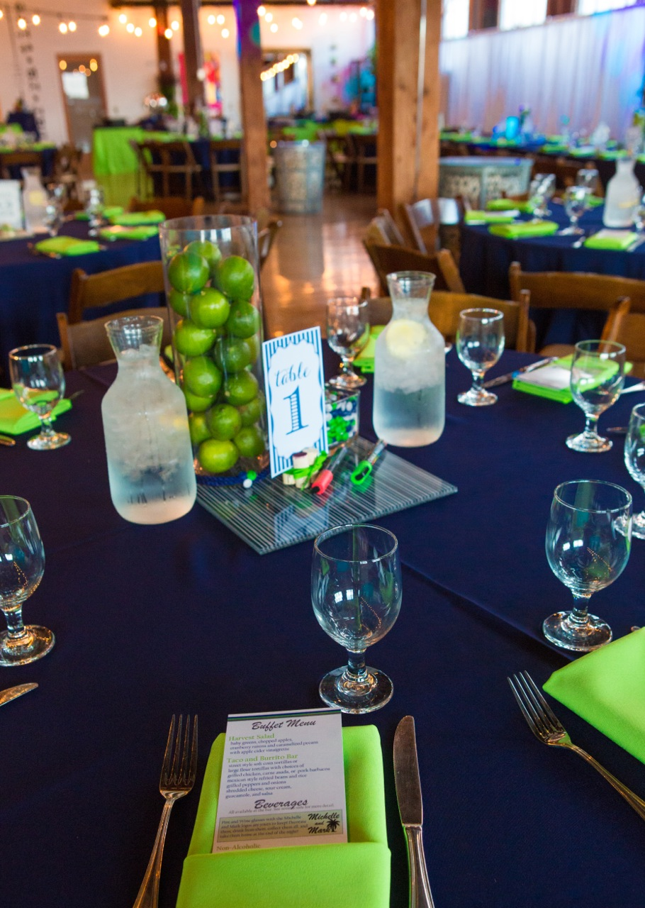 Lime and navy made the tables look like a taste of spring!