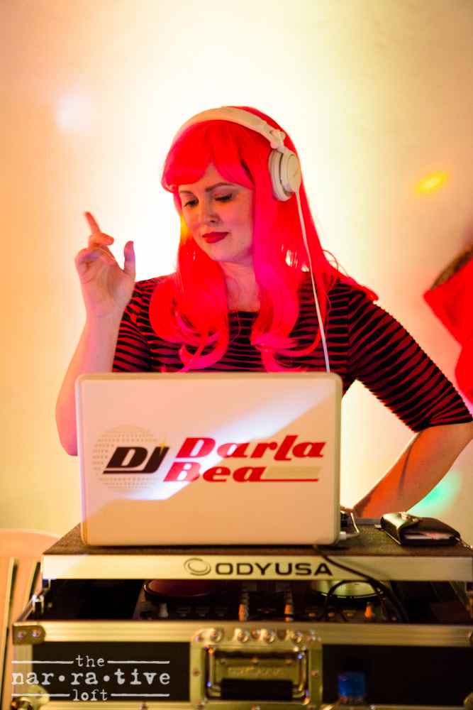 The one and only Darla Bea killing it behind the DJ booth.