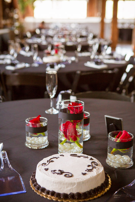 Romantic red roses adorned the tables.