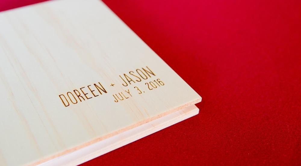 More unique details, cool wood wedding book.