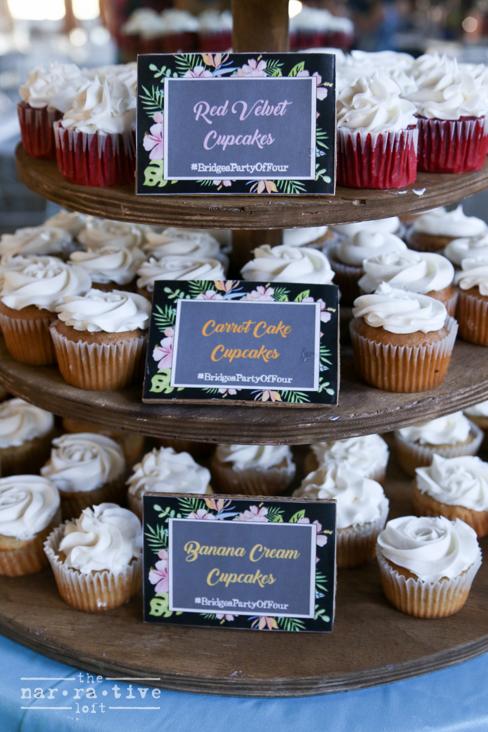 Adorable vintage Hawaiian labels added extra flair to the cup cake display.