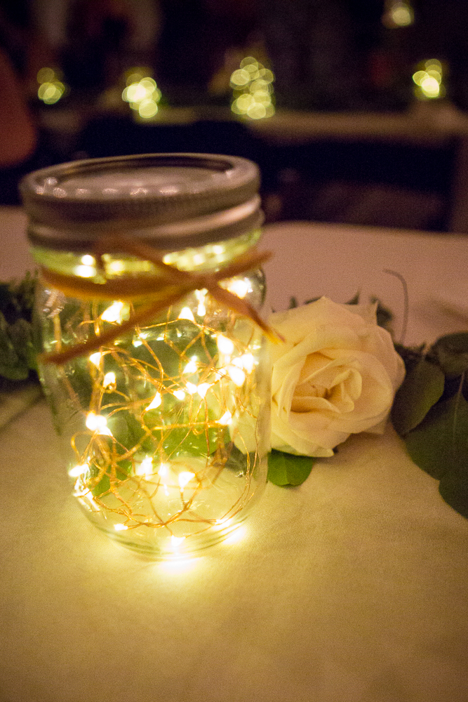 The sweetest lighting detail, looks like fireflies captured in a jar.
