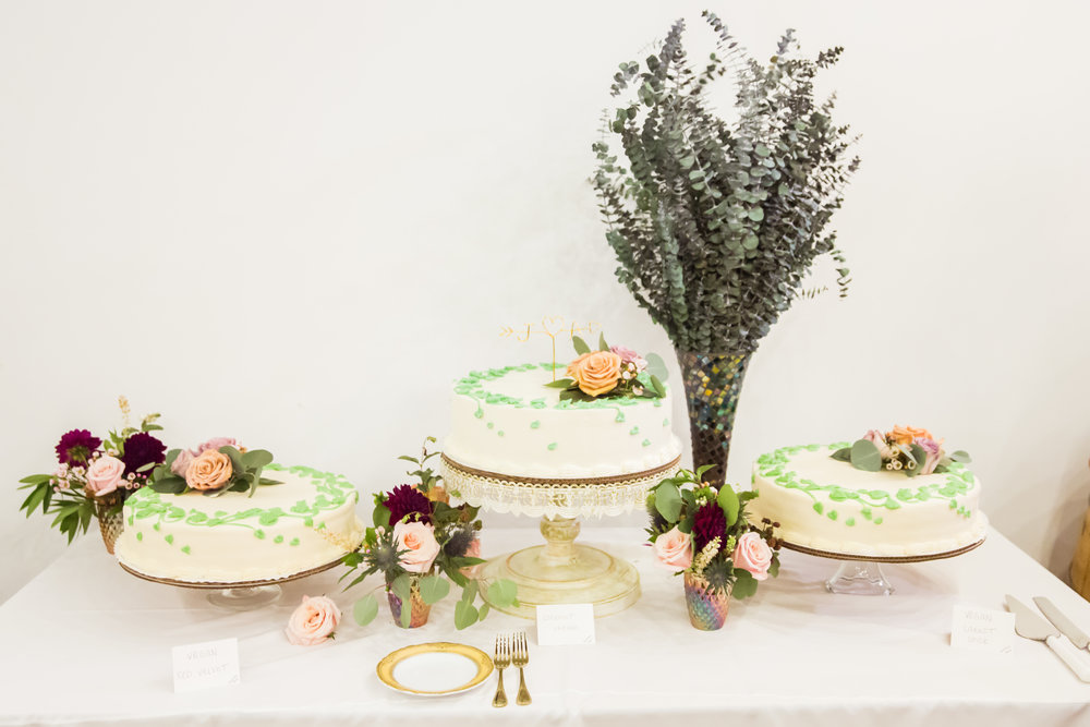 The stunning display of cakes from Lilac Patisserie.