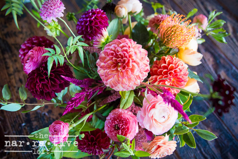 Darling Dahlias by Forage Florals made our space pop with color.
