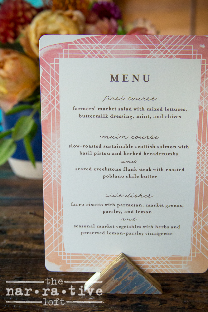 This elegant coursed menu was curated by  Whoa Nelly Catering .