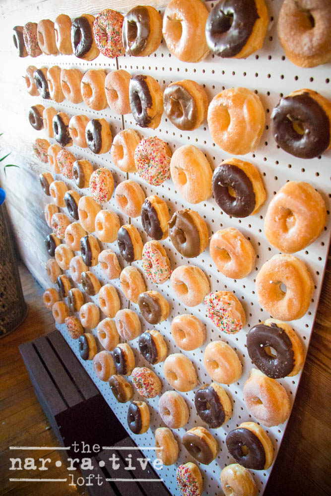 Idea alert! A donut wall gives guests a little blood sugar spike before a long evening.