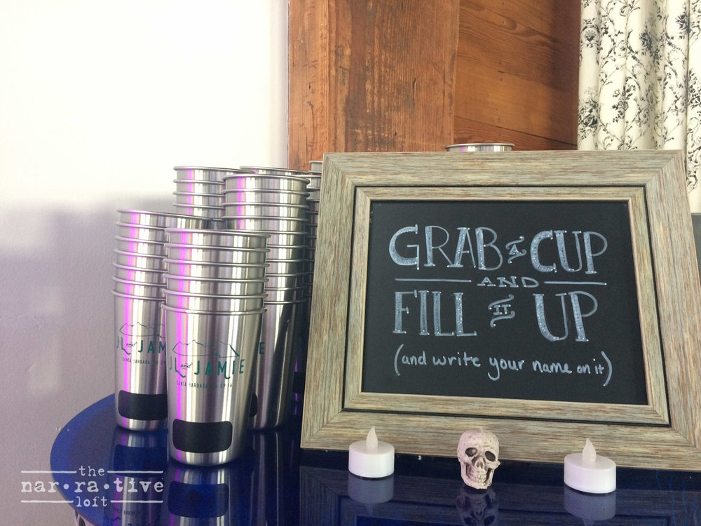 The perfect party favor, stainless steel pint glasses for guests to use again and again.