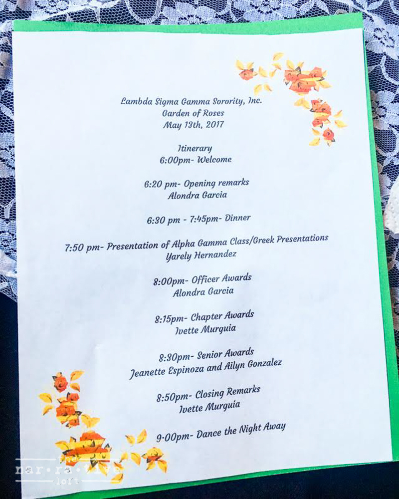 The schedule of events for the night!
