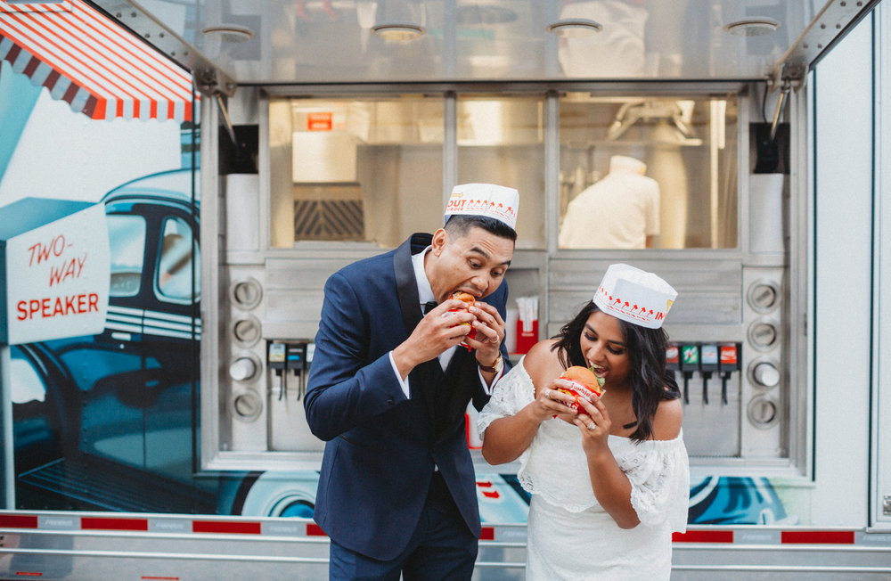 We witnessed these two staring lovingly in each other's eyes... almost the same way they looked at their burgers!  Photo Credit: I Heart My Groom Photography