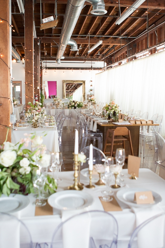 The elegant event space with special details thanks to Forage Floral. Photo Credit: The Narrative Loft