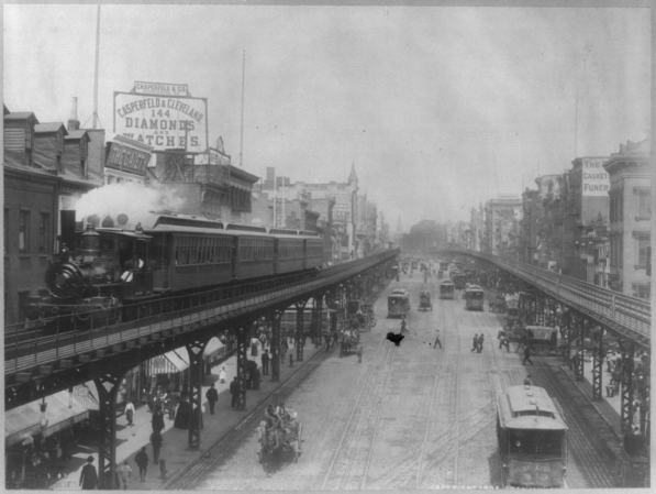 The Bowery in New York City, circa 1913. Visible in this photo is Laszlo's Broad-Thirst Theatre, as well as the near by Majes-Tit and Amb-Ass-Adore Theatres,