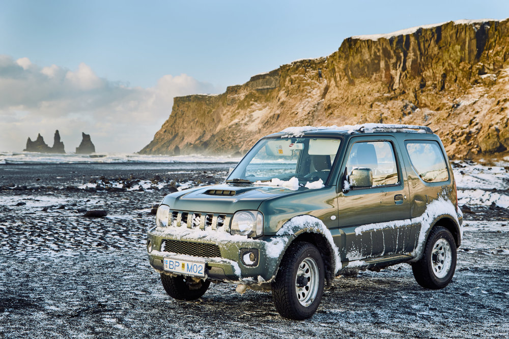 This is a picture of the Suzuki Jimny we rented on the south coast of Iceland, near Vik.