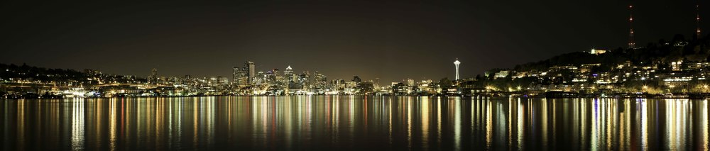 Night view from Gasworks Park