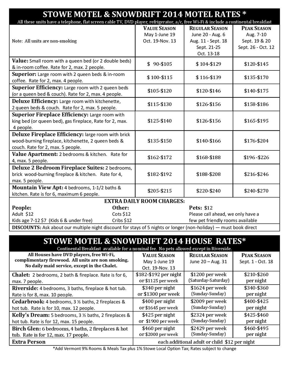Stowe Motel summer rates