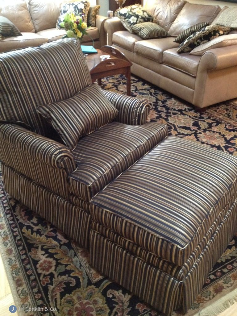 Arm chair and ottoman reupholstered for a Haddon Heights, NJ living room.