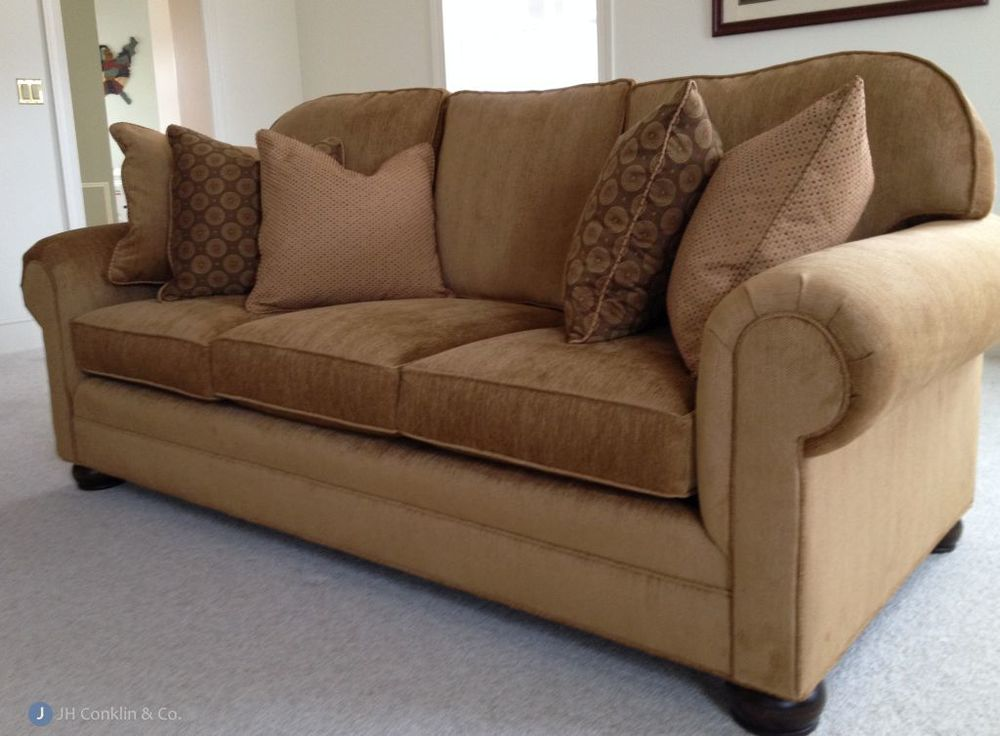 Loose back sofa re-upholstered in a camel colored velvet in a Voorhees, NJ family room.