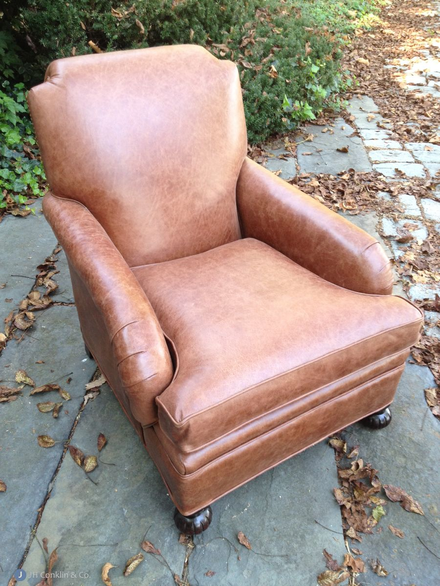 Leather arm chair upholstered in Alloway, NJ