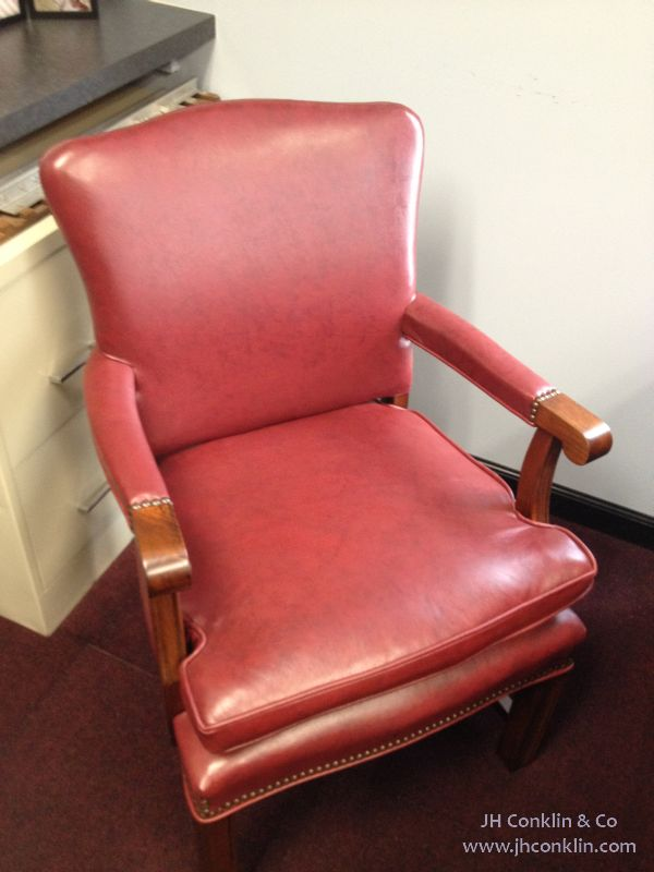 Leather office chair re-upholstered and refinished in Pedricktown, NJ