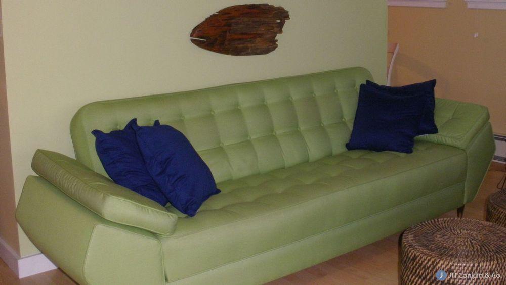 Button back sleeper sofa - mid-century style.